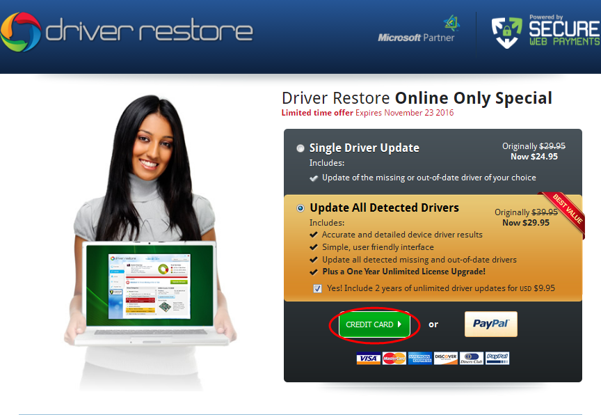 Driver Restore registration process