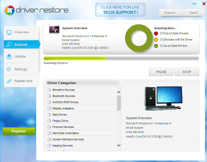 Driver Restore scanning process
