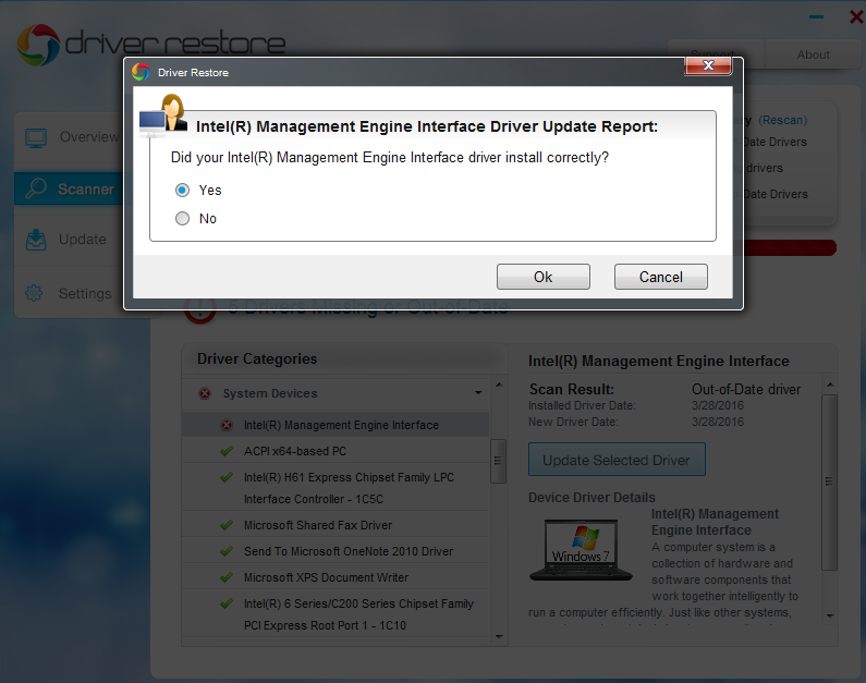 successful installation windows 7 driver