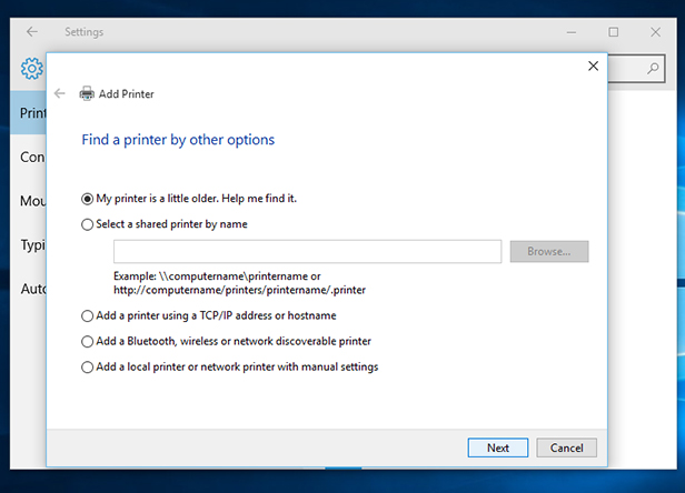Windows 10 to search for an older printer
