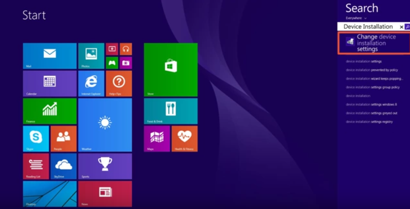 Download and install drivers in Windows 8.1