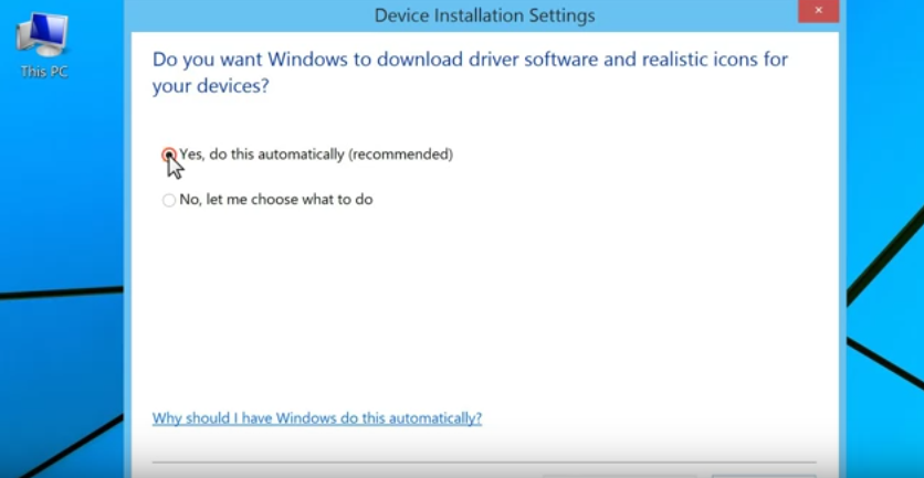 Windows 8 automatically updates drivers